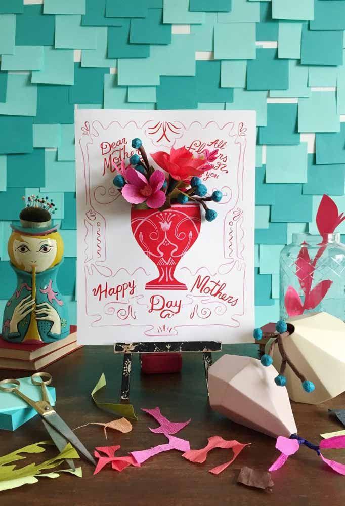 Uma sugestão linda e criativa para o Dia das Mães: quadro 3D com flores de papel