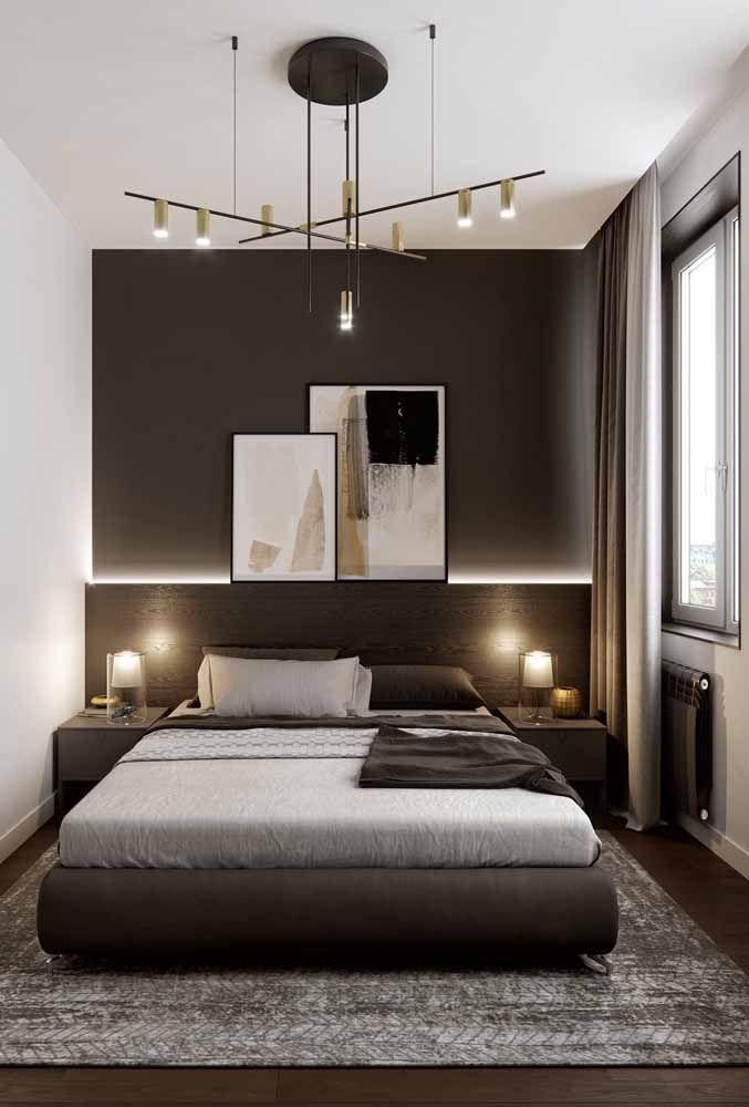 Marrom e branco para um quarto que esbanja classe e elegância