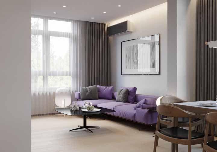 Para ser moderno, mas sem exageros, a combinação entre roxo e cinza é a ideal