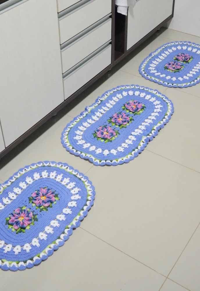 Trio de tapetes de crochê ovais para a decoração da cozinha