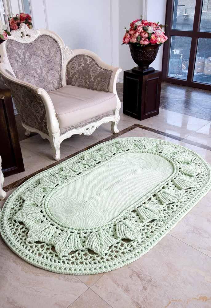 Outra ideia de tapete de crochê oval russo super sofisticado para inserir na decoração
