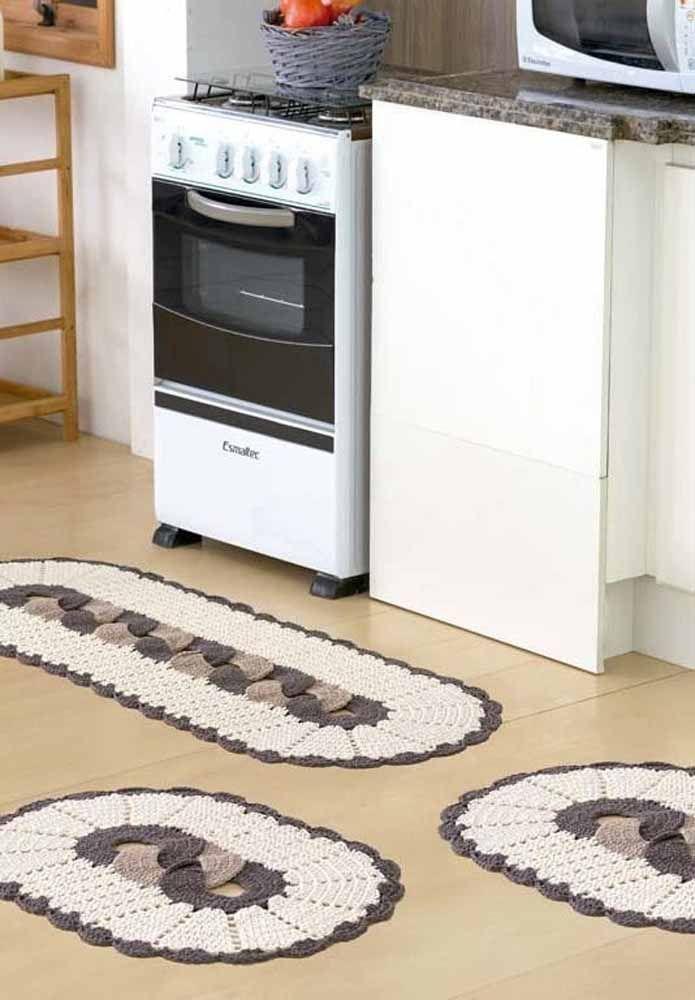 Conjunto de crochê para cozinha com tapetes e passadeira oval