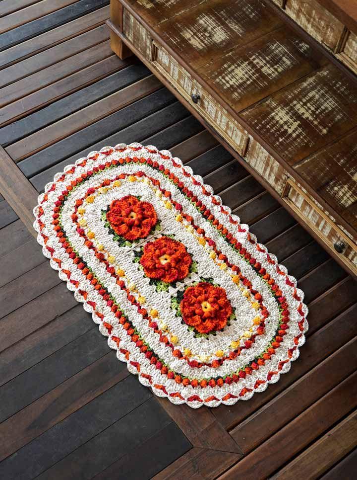 Mistura de pontos e texturas também como um diferencial no seu projeto de tapete de crochê