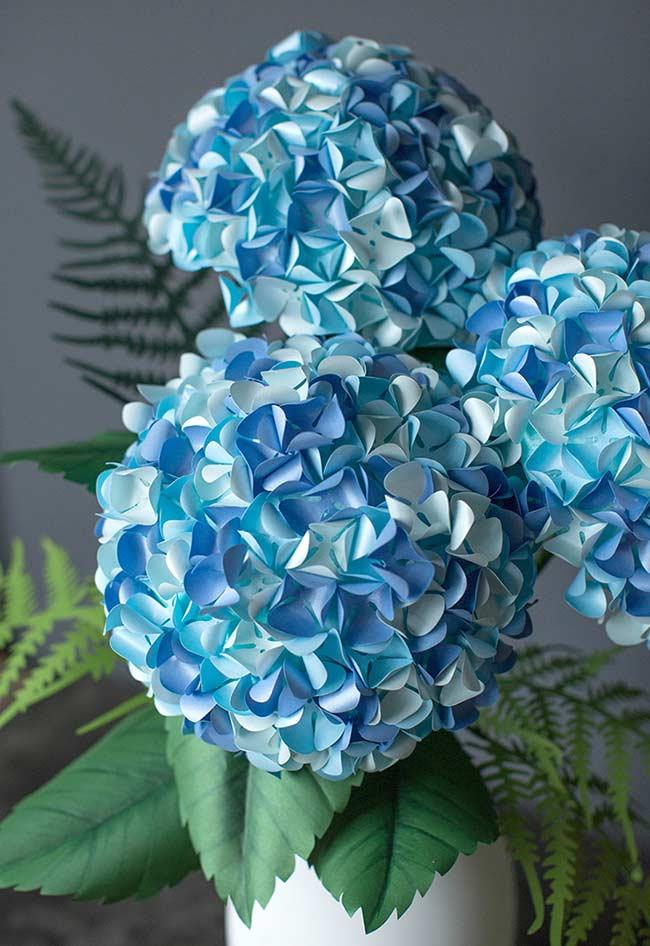 Flores de papel decorativas para vaso