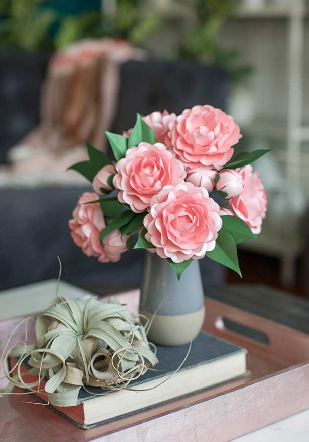 Flores de papel para vaso