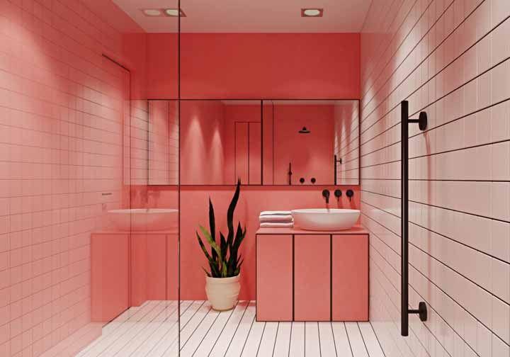 Quente, acolhedor, vibrante: quantos adjetivos cabem mais nesse banheiro dual color?