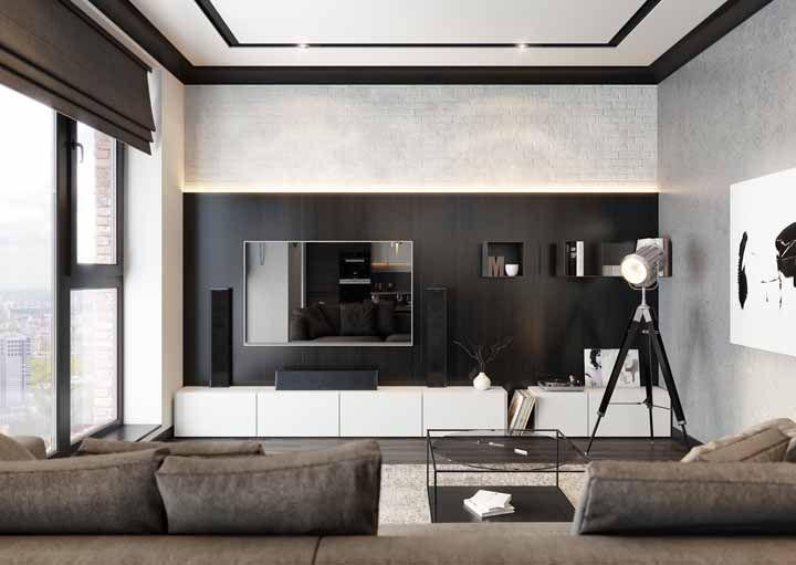 Uma sala bem decorada é sempre notada, mas o destaque desse ambiente vai mesmo para os detalhes em preto da sanca de gesso