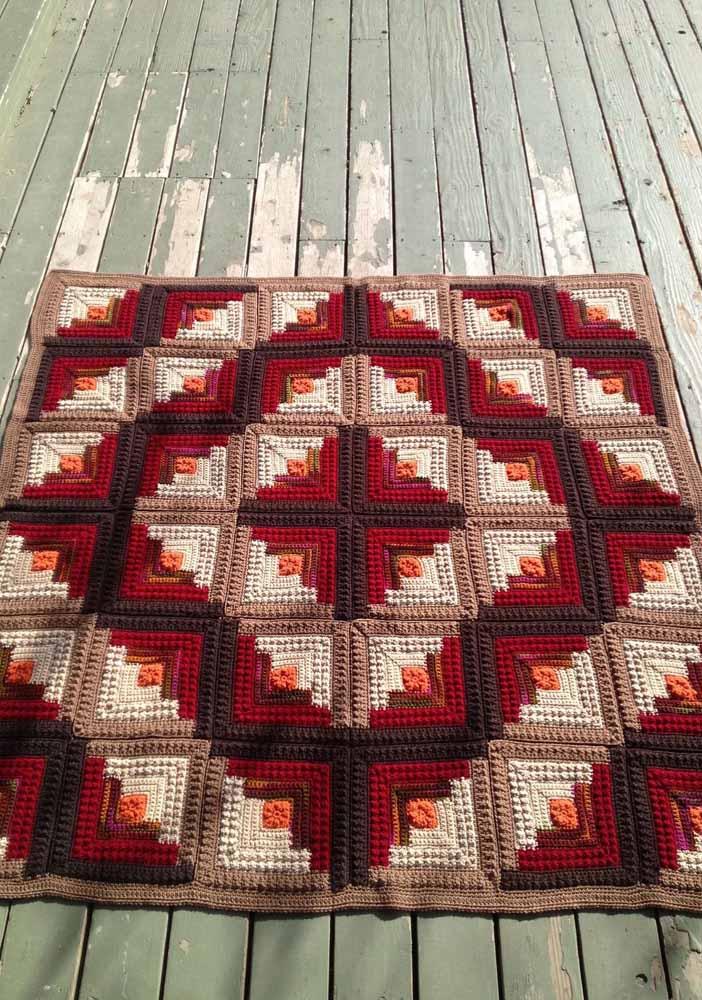 Cores quentes no tapete de crochê quadrado para aquecer os dias de inverno