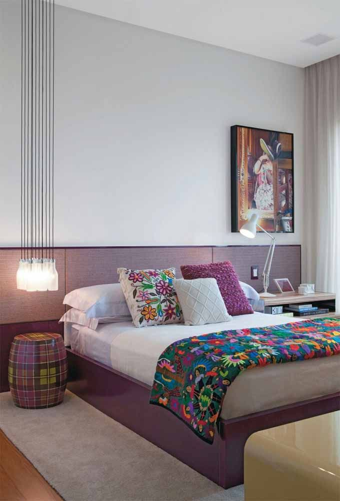 Priorize a cor lilás somente nos itens da cama