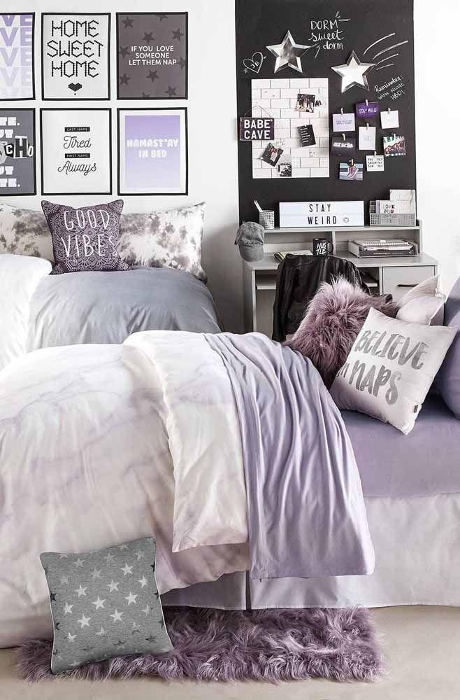 Capriche nos detalhes em lilás para decorar seu quarto