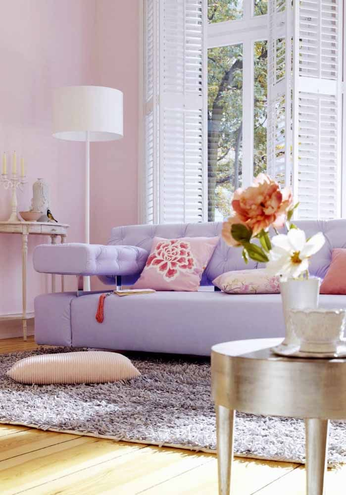 Combine o sofá e o tapete usando tons diferentes