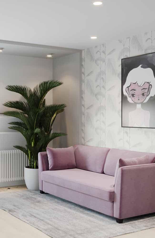 Mais uma vez o sofá ganha destaque na cor lilás