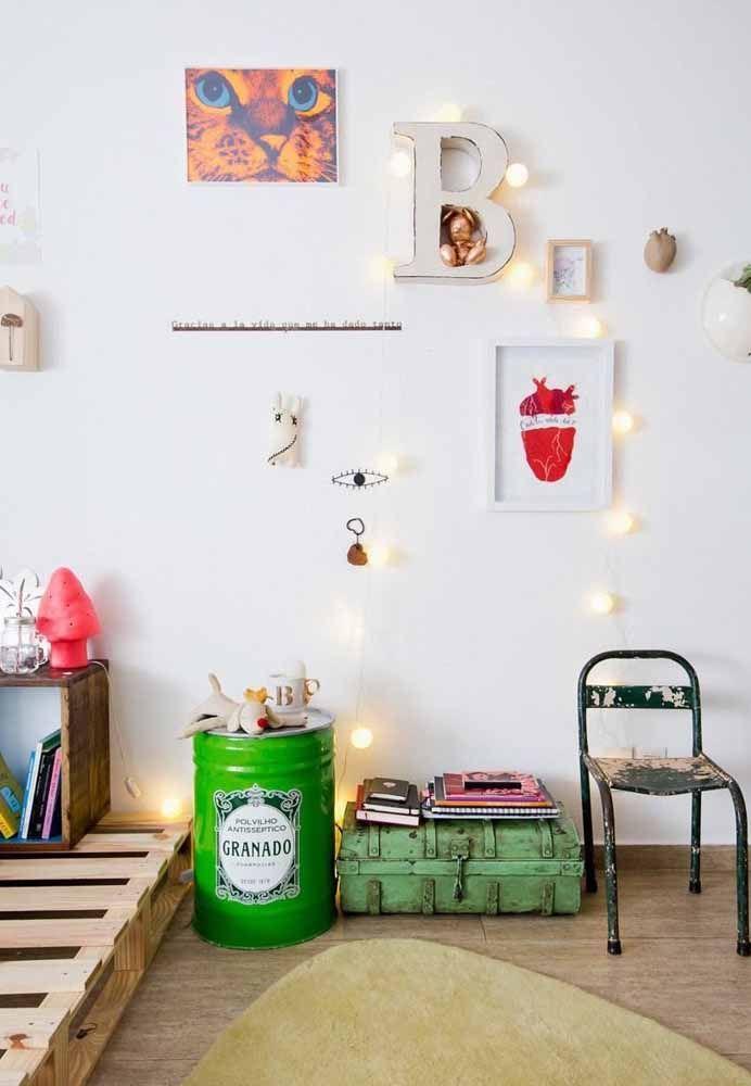 Um verde vivo e alegre para destacar o tambor decorativo no ambiente