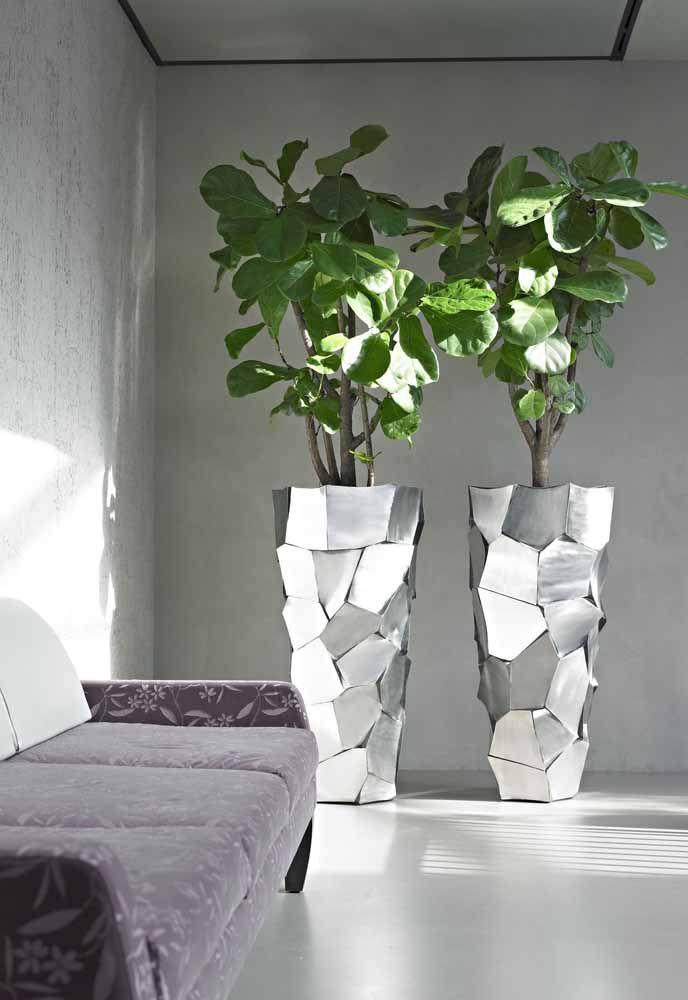 Os vasos metalizados trouxeram charme redobrado para a dupla de figueira lira