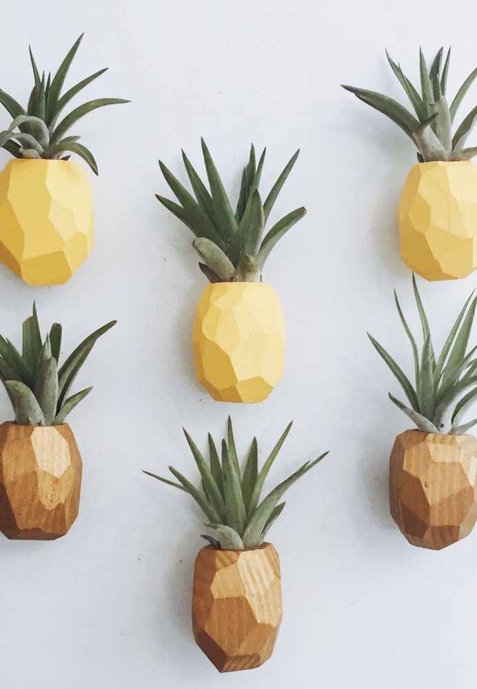Essa é para se apaixonar: as bromélias completam a proposta de transformar vasos em abacaxis