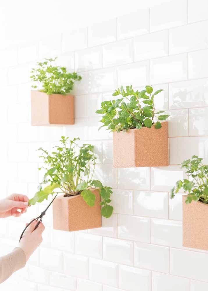 A escolha para a mini horta vertical foram os vasos de polietileno.