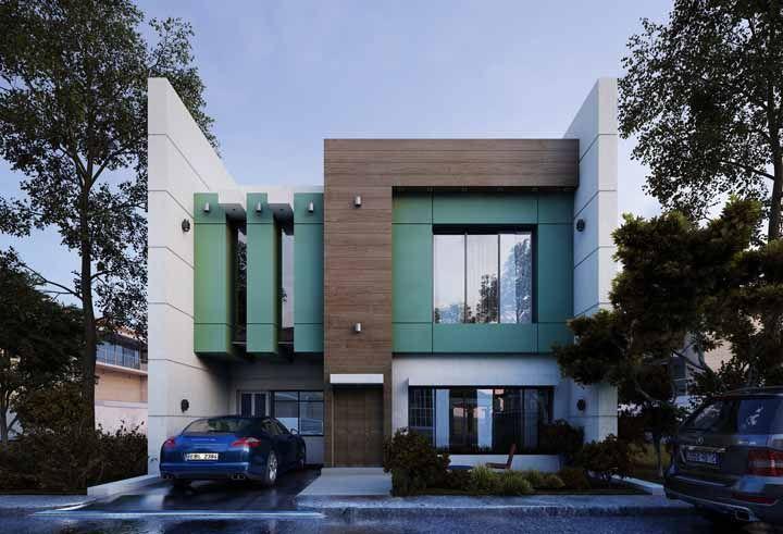 E na fachada da casa? Já pensou em usar o verde água? Olha como fica!