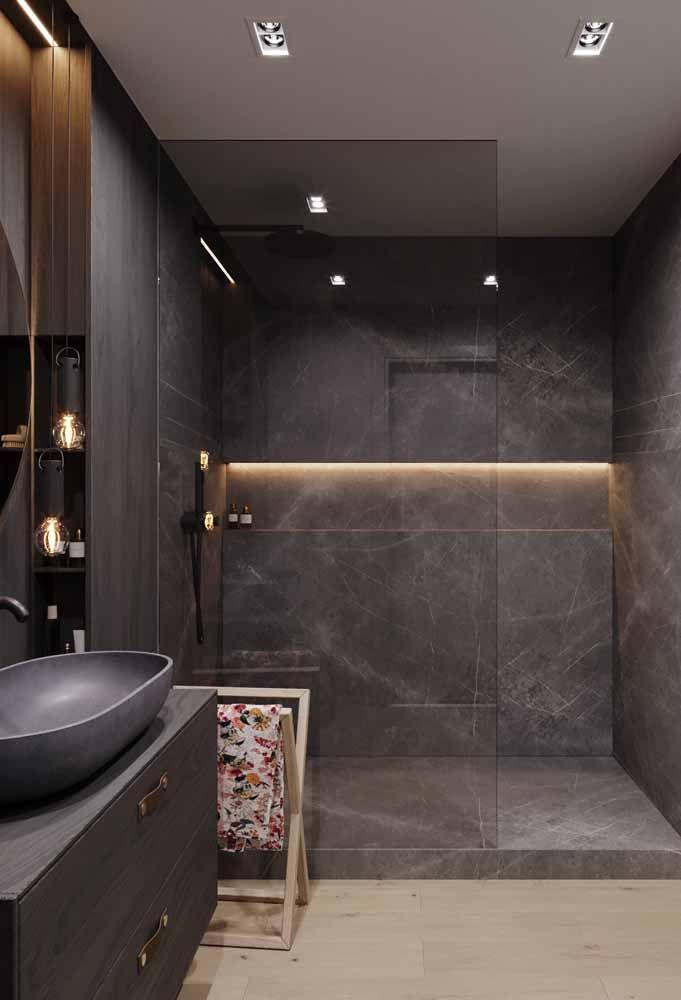 Cuba para banheiro produzida com Silestone Cinza: perfeita harmonia com o restante da decor