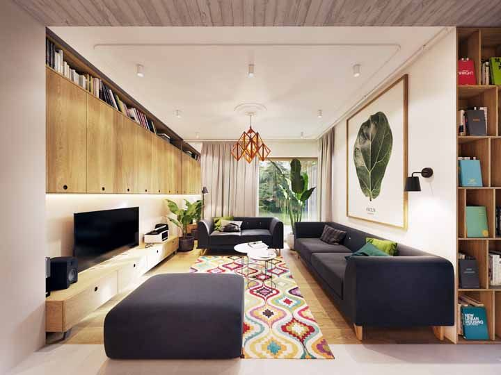 Cores, quadros, livros, plantas: o que mais você tem que pode compor a decor da sua sala grande? Mas lembre-se de manter o bom senso e o equilíbrio