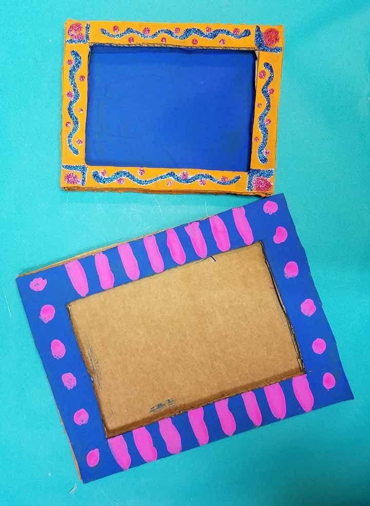 Porta retrato de papelão pintado com tinta: chame as crianças para ajudar e deixe-as criar do jeito que preferirem