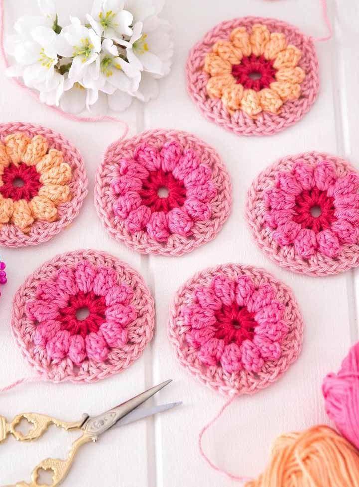 Círculos coloridos, floridos e de crochê para serem usados como quiser