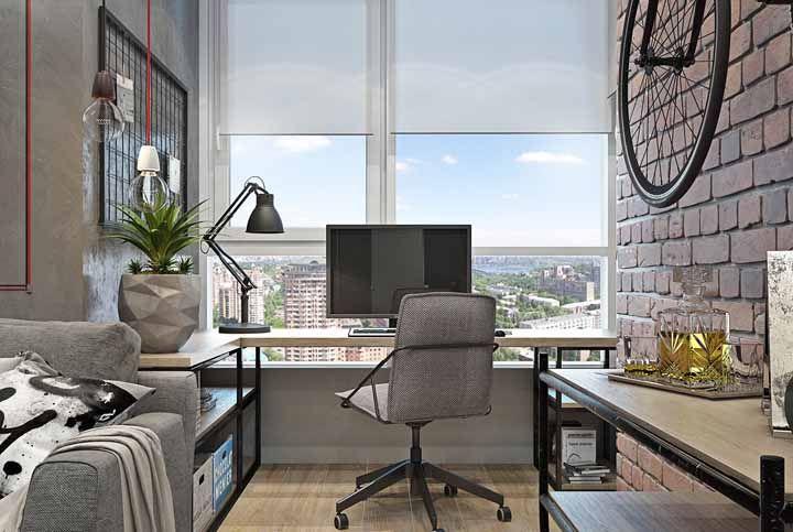 A vista em frente a mesa ajuda a manter o ambiente inspirado, principalmente para aqueles que necessitam da criatividade no trabalho