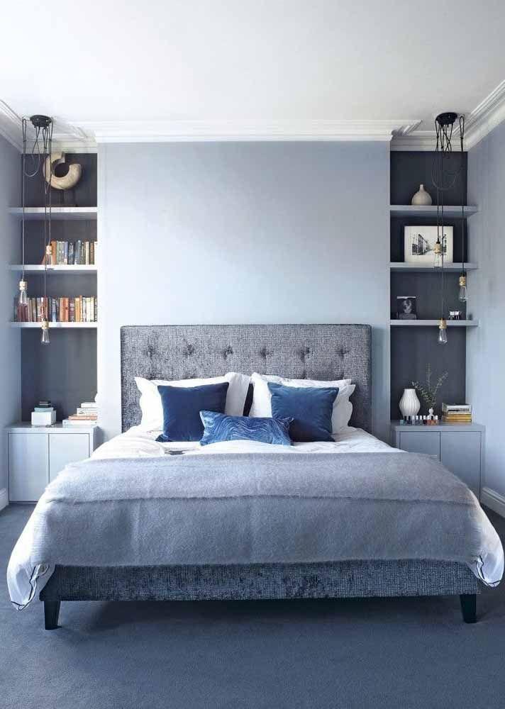 O azul para o quarto está relacionado à harmonia e tranquilidade