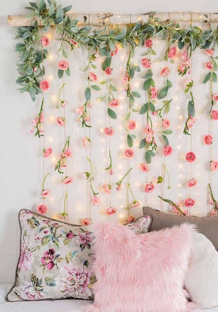 Inspiração floral para um quarto delicado e bem feminino