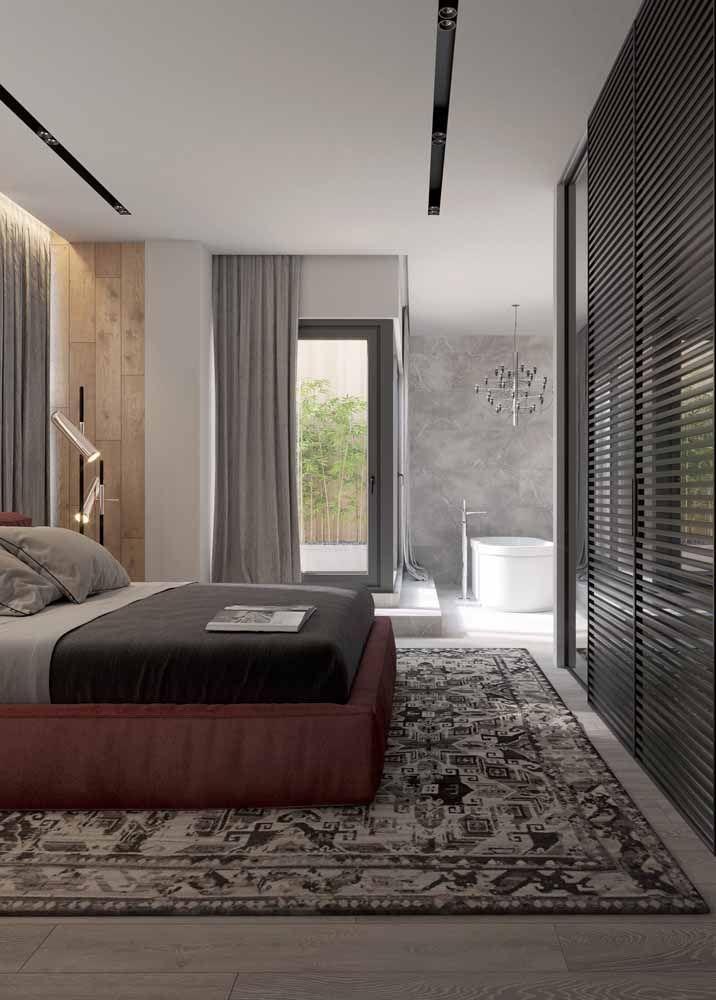 Puro conforto o quarto de casal com um tapete persa nessas dimensões
