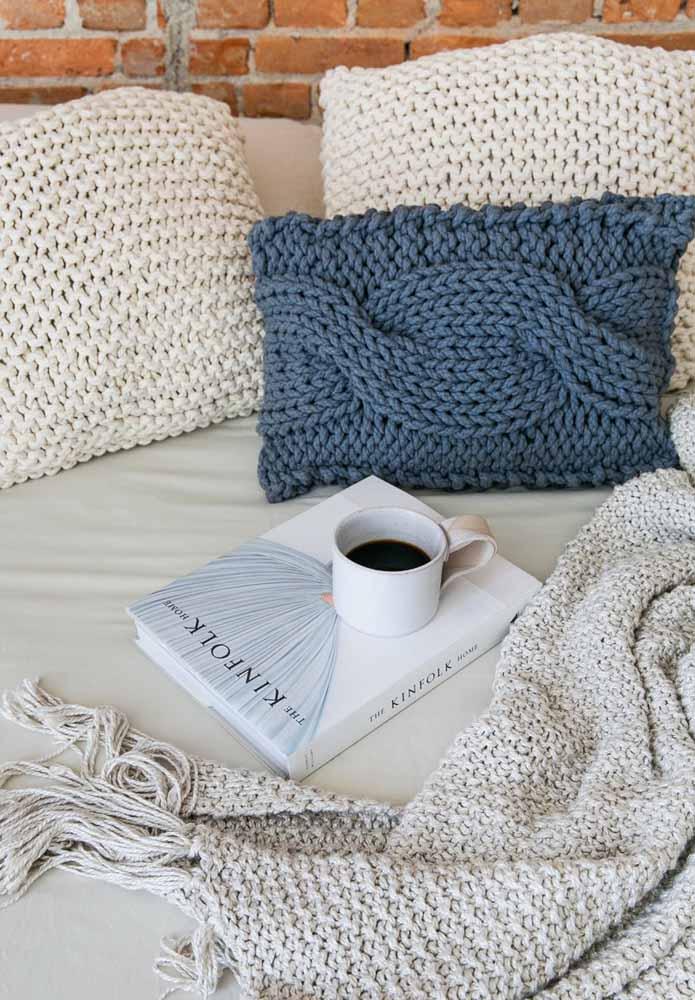 Almofadas de crochê no quarto: aconchegante e confortável