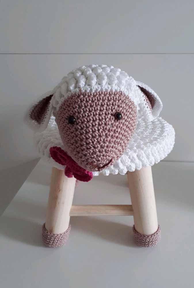 Olha que linda ovelhinha o seu banquinho se transformou