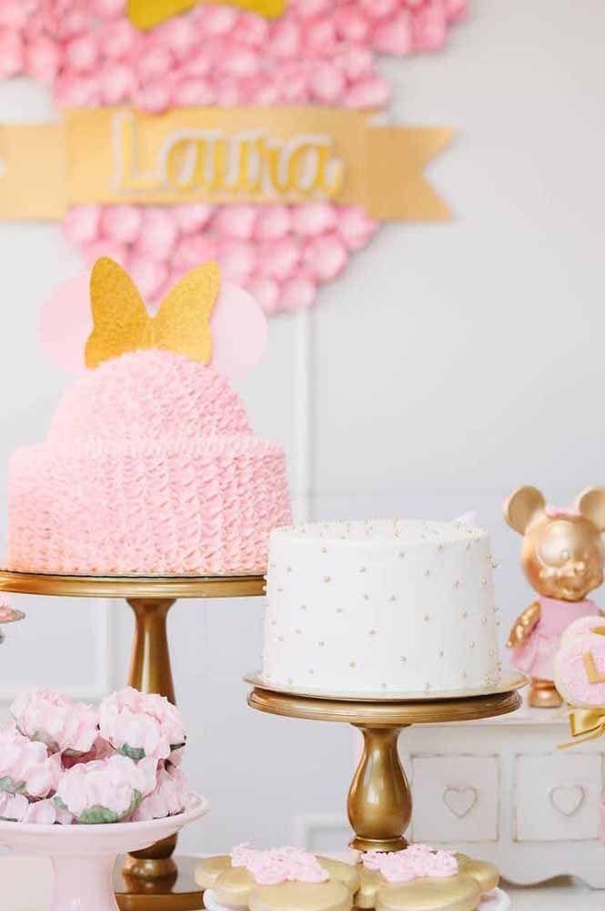 Festa da Minnie super delicada em tons de rosa e branco