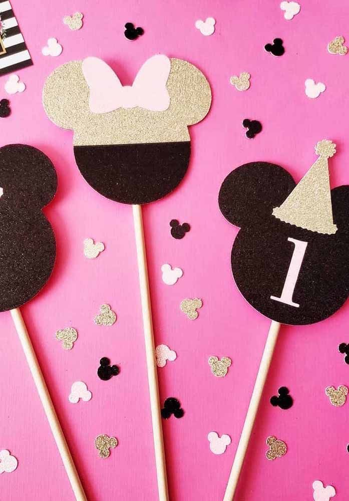 Plaquinhas decorativas da Minnie para deixar a festa mais divertida