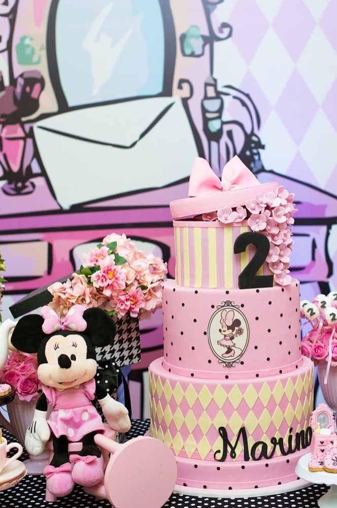 Festa da Minnie preta, rosa e com um toque de amarelo