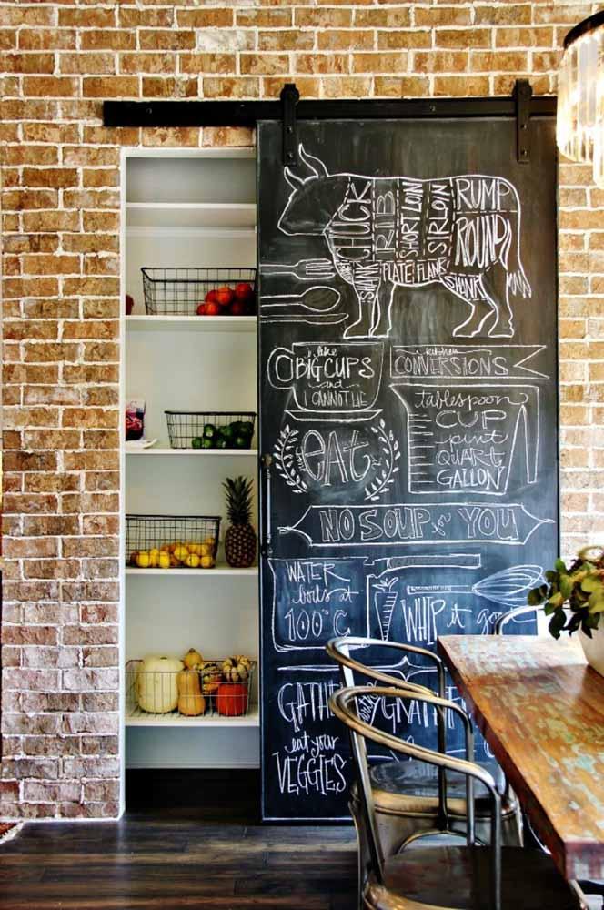 Aqui, o Chalkboard foi feito na porta da despensa listando ingredientes comuns na cozinha