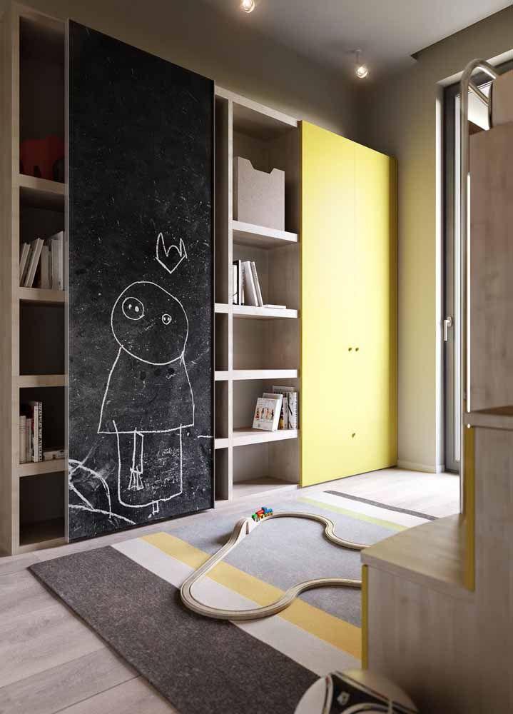 No quartinho das crianças, o Chalkboard é uma tela para deixar a criatividade e a imaginação fluir