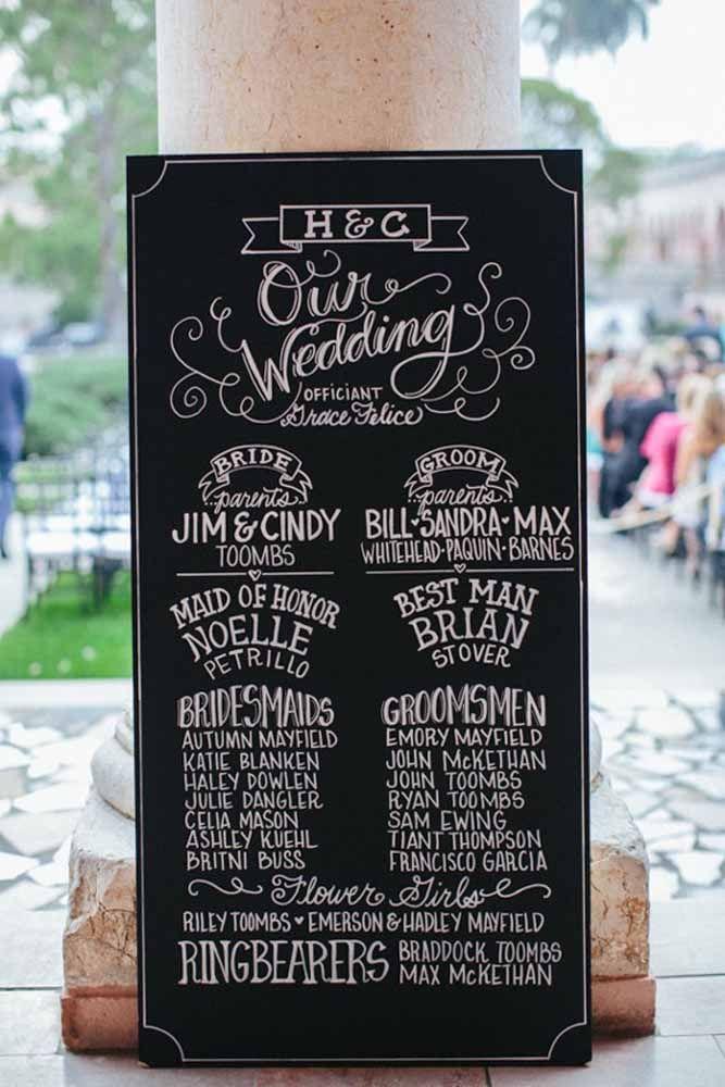 O Chalkboard desse casamento traz o nome de todos que participaram da cerimônia oficial