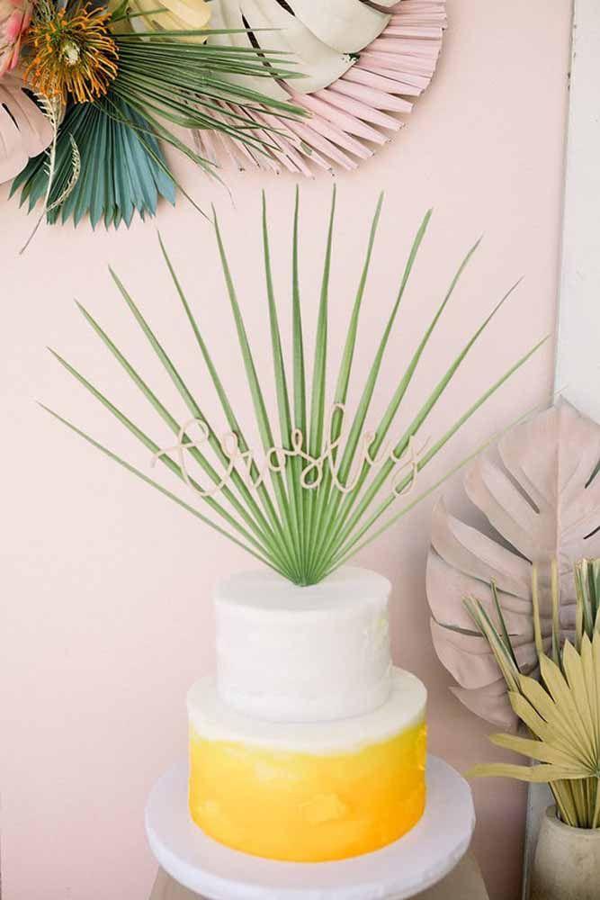 A decoração aqui é uma simples folha de palmeira