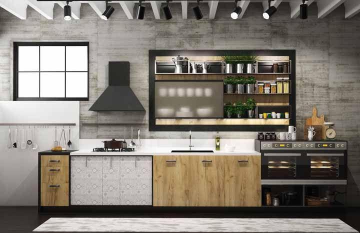 Essa cozinha modulada tem espaço até para uma mini horta