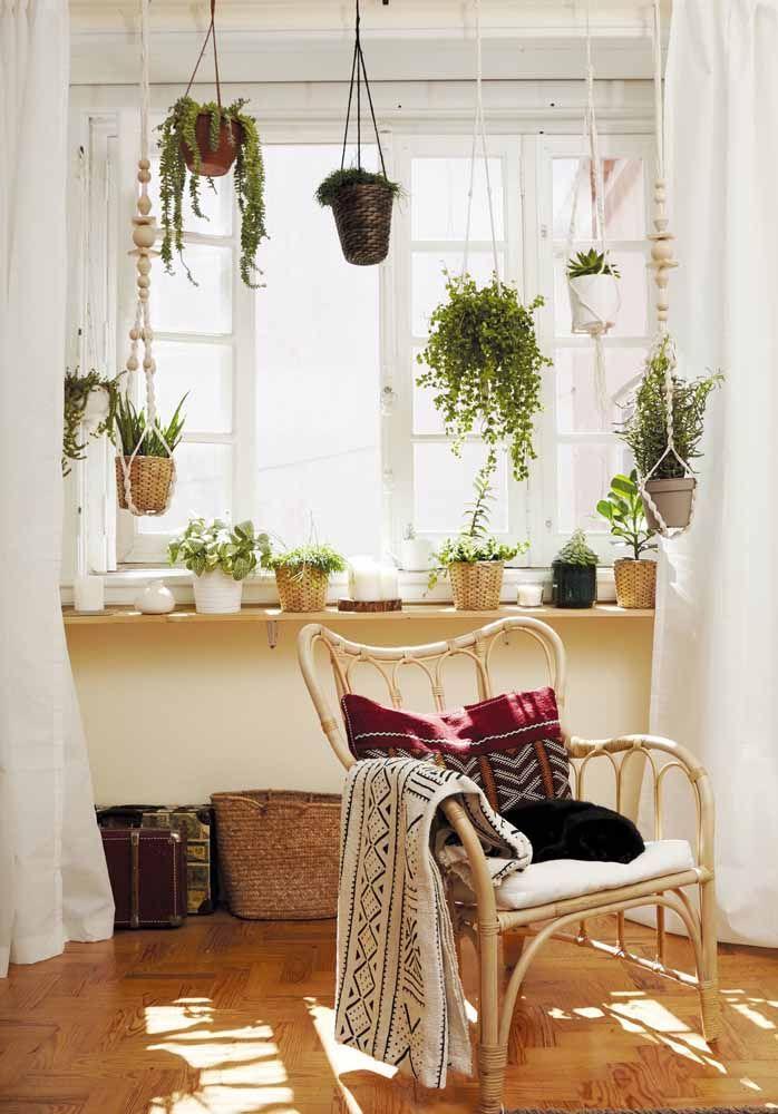 Aproveite a luz natural que entra pela janela e crie um lindo jardim suspenso diante dela
