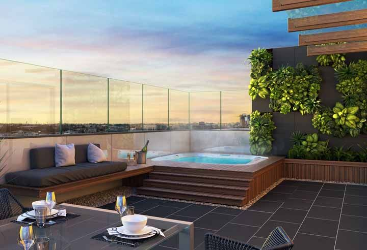 Vai dizer que a área da piscina não fica mais agradável com um jardim suspenso por perto?