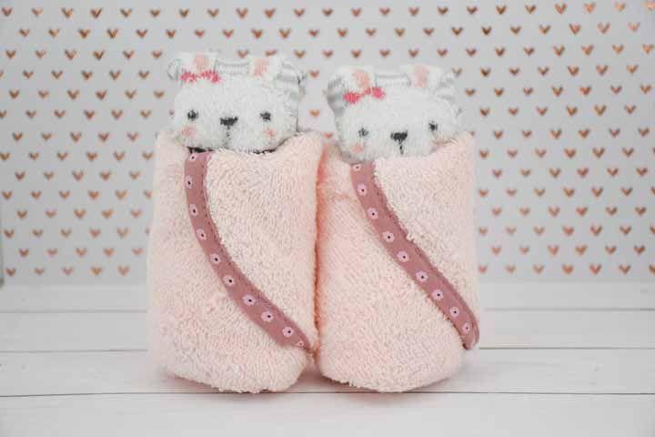 E pra fechar, esses ursinhos fofos embalados em toalinhas