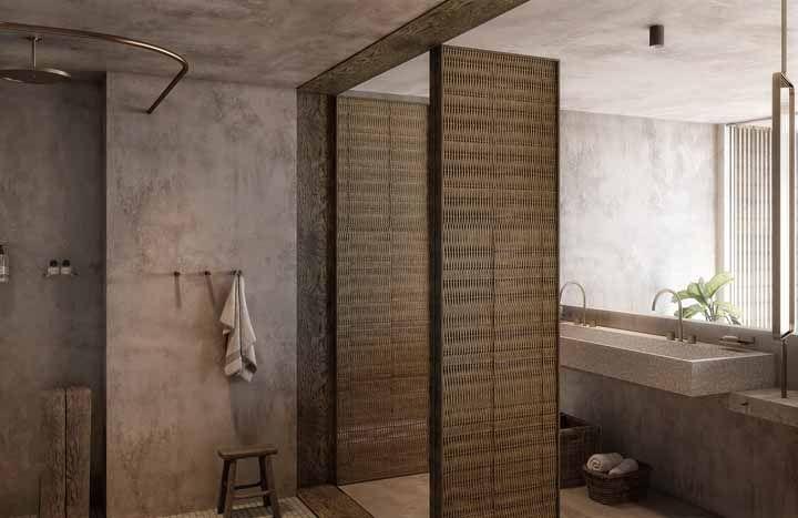 Você vai se apaixonar por esse banheiro! Já havia pensando em usar vime como revestimento?