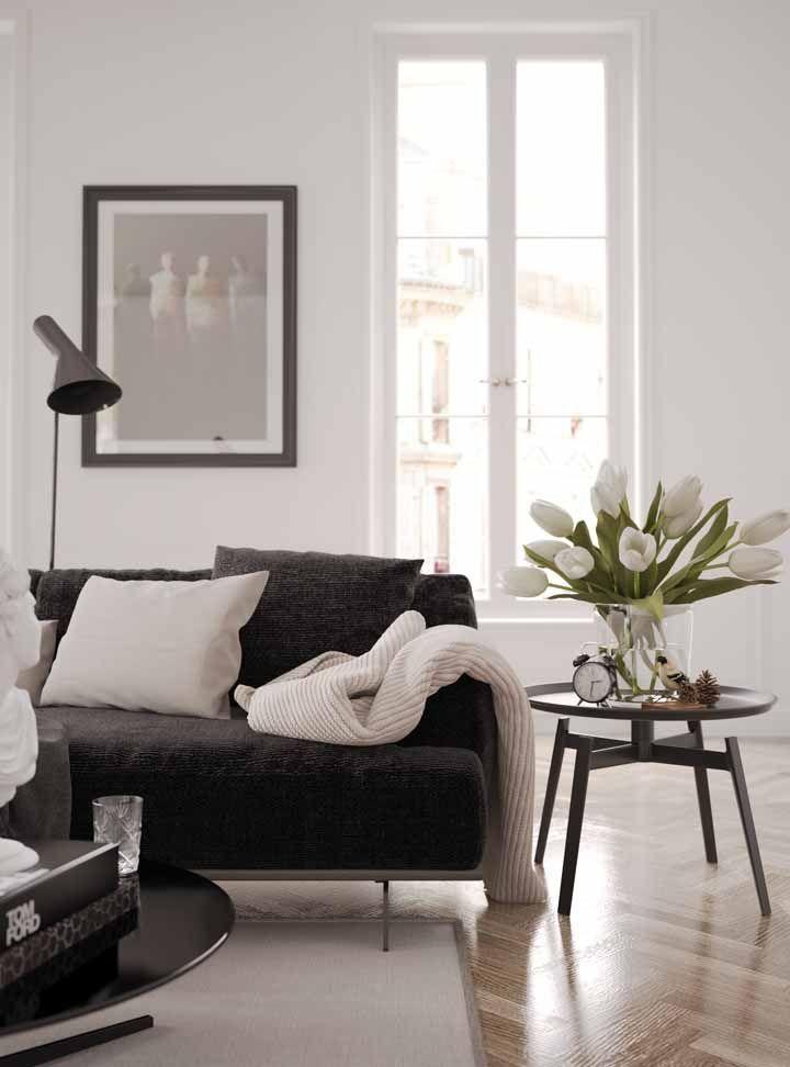 Tulipas brancas para compor a decoração da sala preta e branca