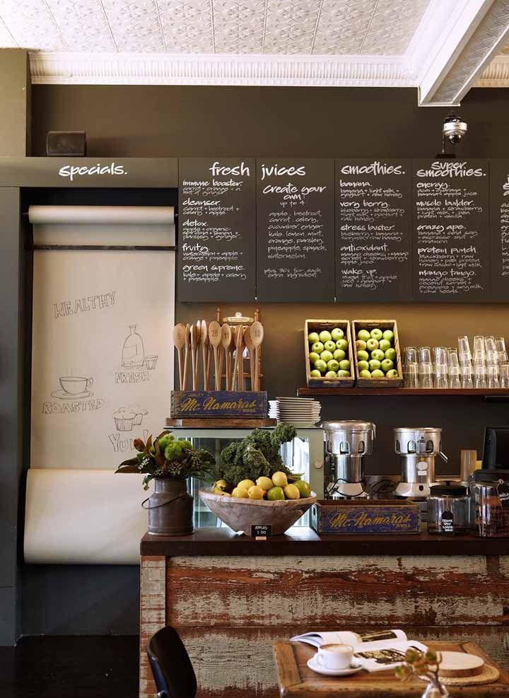 Restaurantes e lanchonetes ficam mais modernos e bonitos com o uso da tinta lousa, sem contar que ela pode ser usada para expor o cardápio