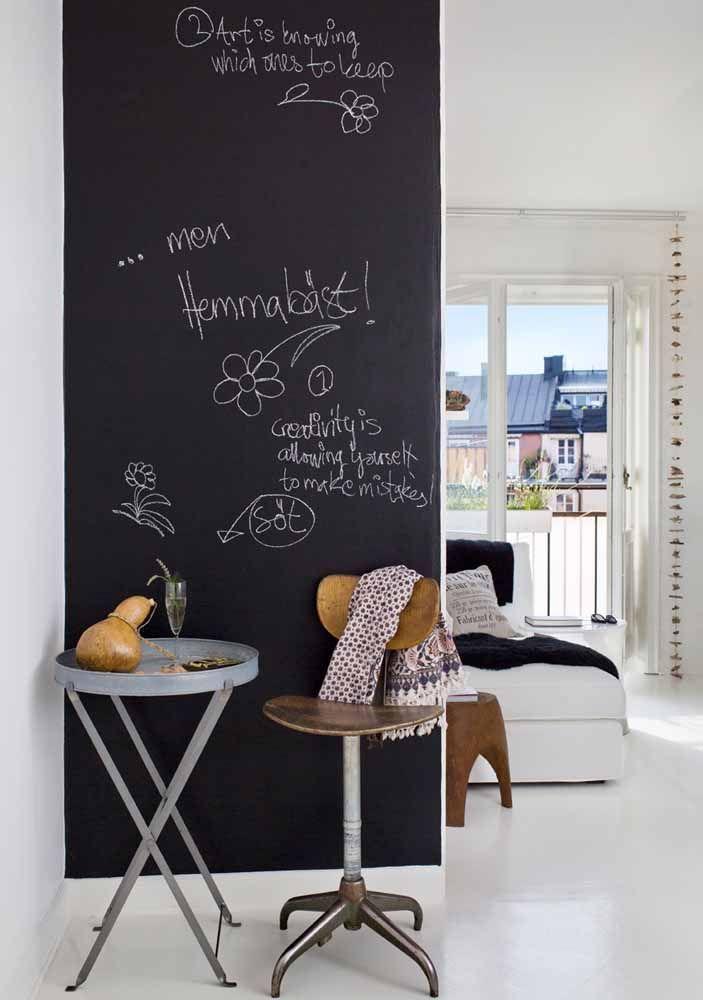 Não tem uma parede grande aí na sua casa para usar a tinta lousa? Não tem problema! Qualquer faixa de parede já é capaz de mudar a decoração