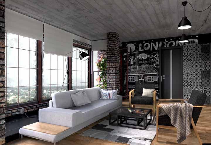 Na mesma parede: tinta lousa, azulejos retrô e tijolinhos