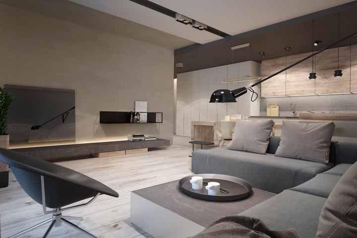 O sentido do piso ajuda a ampliar a sensação de espaço da sala