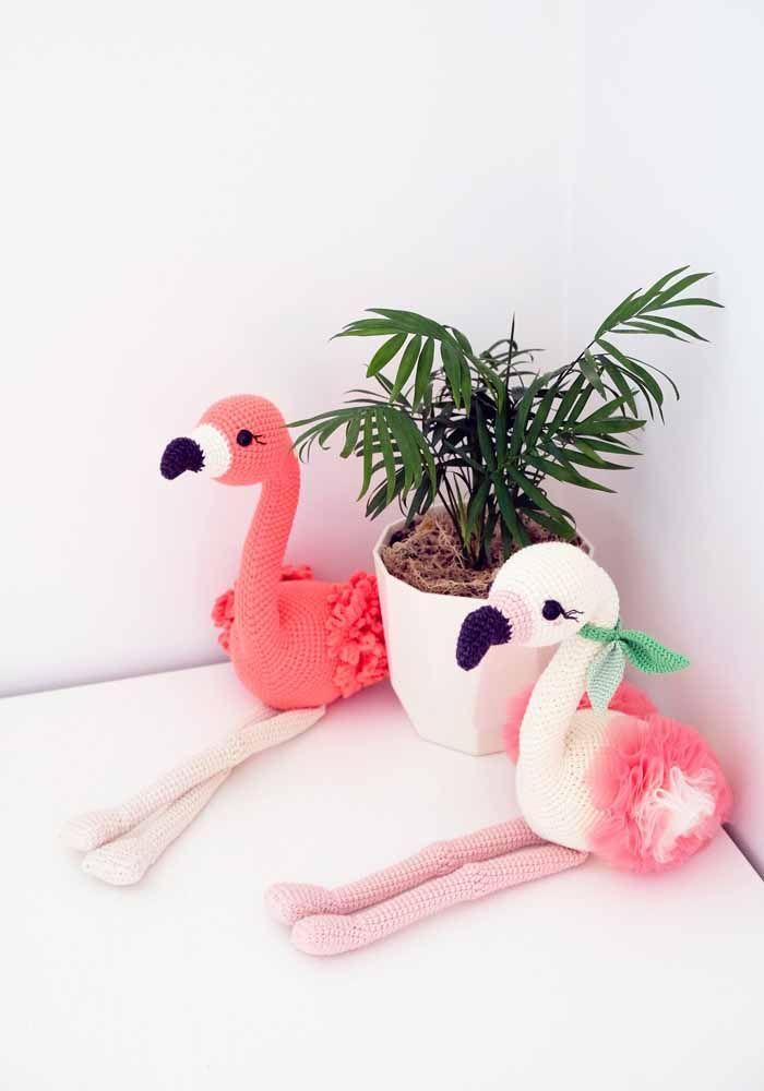 Flamingos: um ícone da decoração atual na versão amigurumi