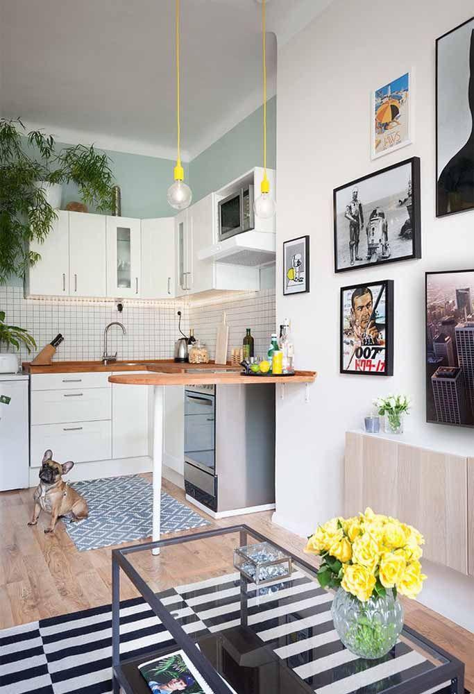 Em apartamentos pequenos o ideal é fazer uma combinação entre a decoração dos cômodos